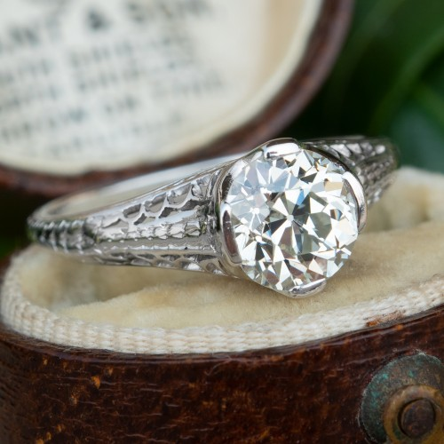 1920's Filigree Engagement Ring GIA 1.3CT K/VS2 Old Euro Diamond