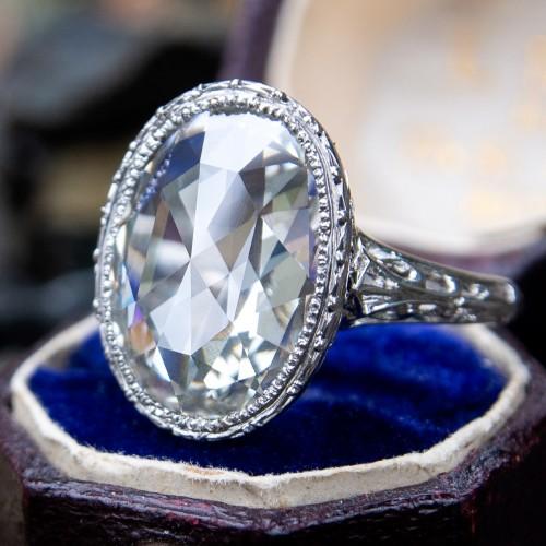 Magnificent Antique Rose Cut Diamond Filigree Bezel Engagement Ring