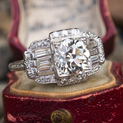 GIA 2 Carat Old Euro Diamond Antique Engagement Ring