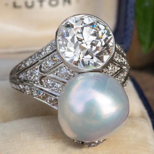 Edwardian Era Natural Pearl & Old European Cut Diamond Ring Platinum 1910's GIA