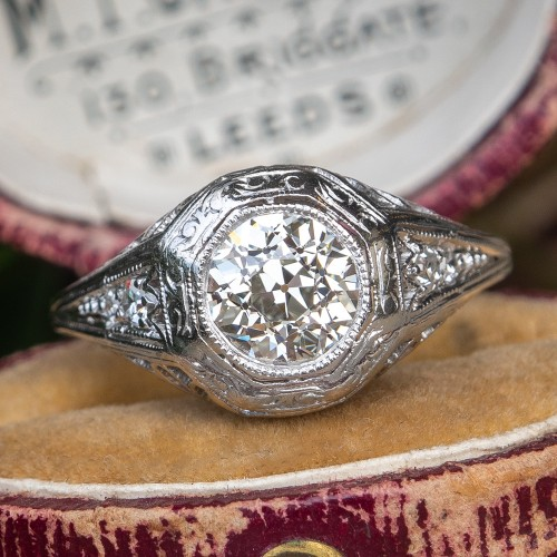 Art Deco Engagement Ring Old Euro Diamond Platinum Filigree GIA H/VS1