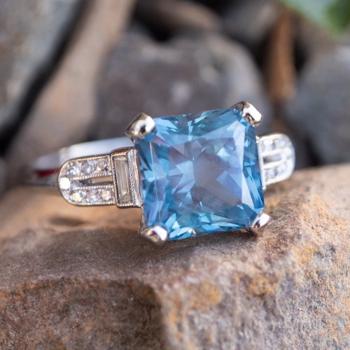 No Heat Montana Sapphire Engagement Ring Antique Platinum Diamond Mount 1937