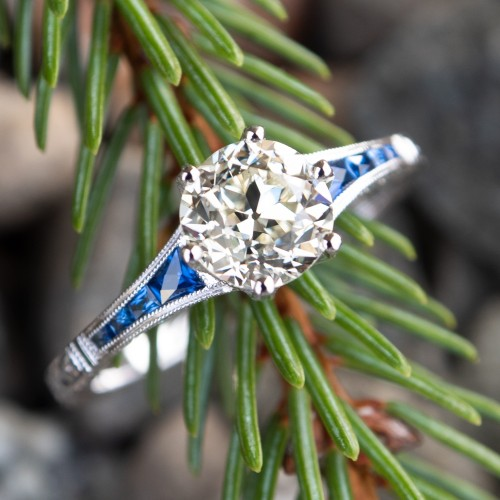 Old European Cut Diamond Engagement Ring w/ Sapphire Accents