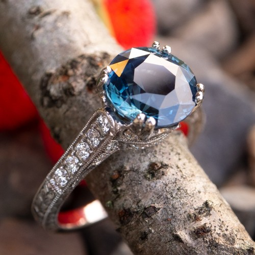 4 Carat Icy Blue Green Sapphire Engagement Ring Platinum w/ Diamonds