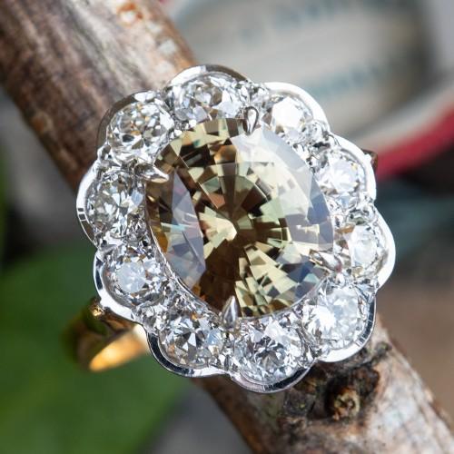 Color Change Alexandrite & Old Euro Diamond Halo Ring