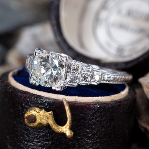 1 Carat Transitional Cut Diamond Vintage Engagement Ring 18K
