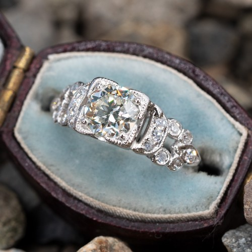 Transitional Cut Diamond Vintage Detailed Engagement Ring