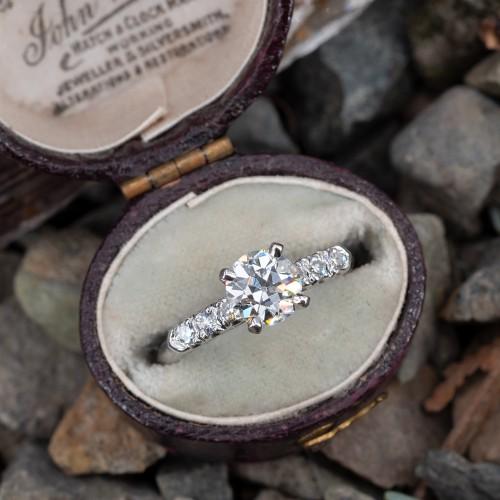 1 Carat Old Euro Diamond Engagement Ring Platinum w/ Accents