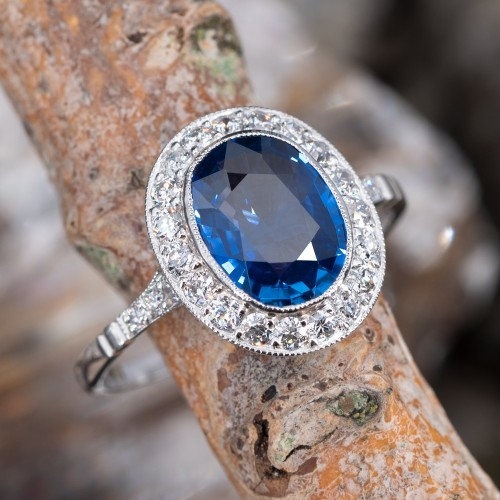 Natural Blue Sapphire & Diamond Halo Engagement Ring Platinum
