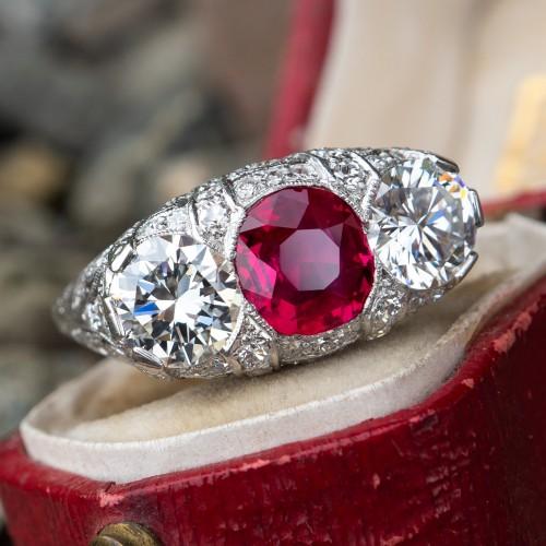 Art Deco Ruby Ring w/ Diamonds & Filigree Magnificent