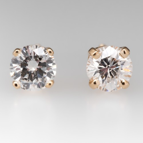 Four-Prong Round Brilliant Diamond Stud Earrings 14K Yellow Gold
