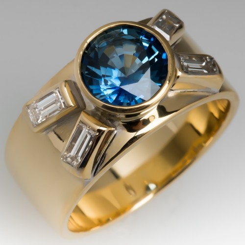 Blue Green Sapphire Wide Band Ring 18K Yellow Gold