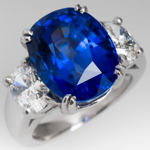 12 Carat Beautiful Blue Sapphire & Diamond Three Stone Ring Platinum