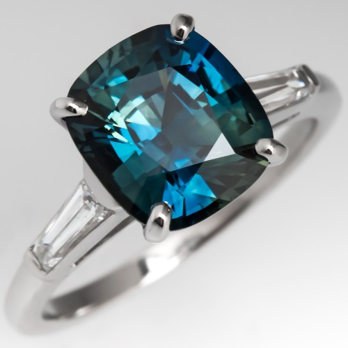 3 Carat Cushion Cut No Heat Blue Green Sapphire Ring Platinum