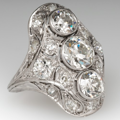 Magnificent North South Antique Diamond Cocktail Ring Platinum c1910