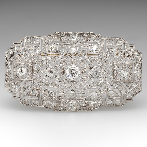 4.8 Carat Art Deco Diamond Brooch Pin Openwork Platinum