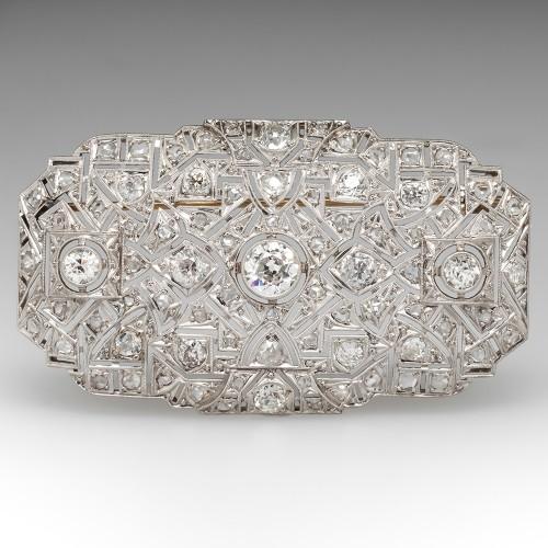 4.8 Carat Art Deco Diamond Brooch Pin Openwork Platinum