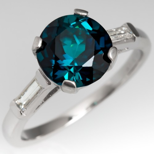 Blue Green Tourmaline Engagement Ring 1950's Platinum Mounting