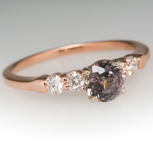 Pink Montana Sapphire Engagement Ring w/ Diamond Accents 14K Rose Gold