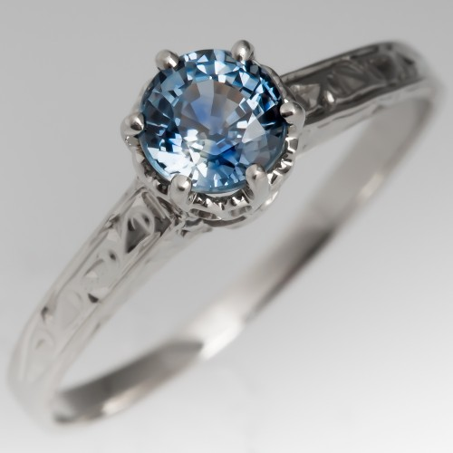 Montana Sapphire Filigree Engagement Ring 1950's Mounting
