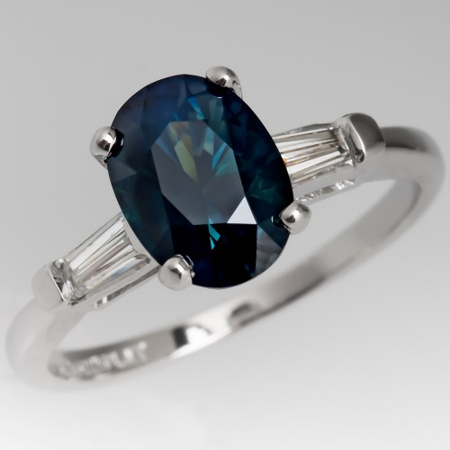 Green Blue Sapphire Engagement Ring Tapered Baguette Diamonds Platinum