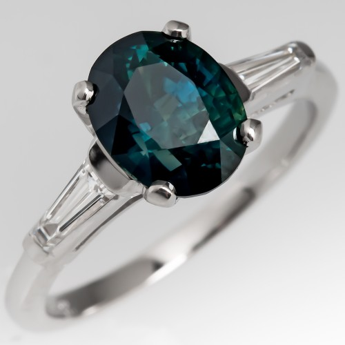 Blue Green Teal Sapphire Engagement Ring Tapered Baguette Diamonds