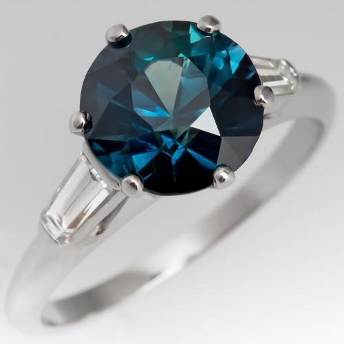 Rich 3 Carat Green Blue Sapphire Engagement Ring Vintage Mounting