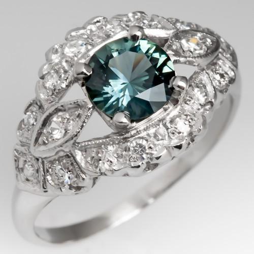 Vintage Platinum Low Profile Diamond Ring with Blue Green Sapphire