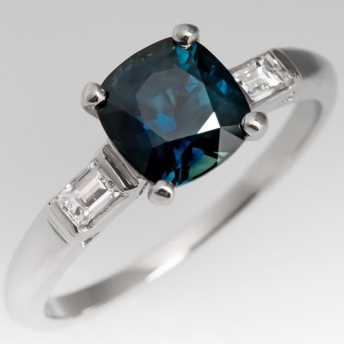 Vivid Teal Blue Green Cushion Cut Sapphire Ring Platinum