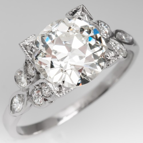 1930's Art Deco Engagement Ring 2.4CT Old European Cut Diamond