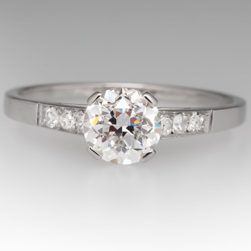 GIA D / VS1 Transitional Cut Diamond Antique Engagement Ring Platinum