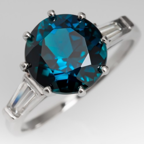Blue Green Tourmaline Ring Platinum w/ Tapered Baguette Diamonds