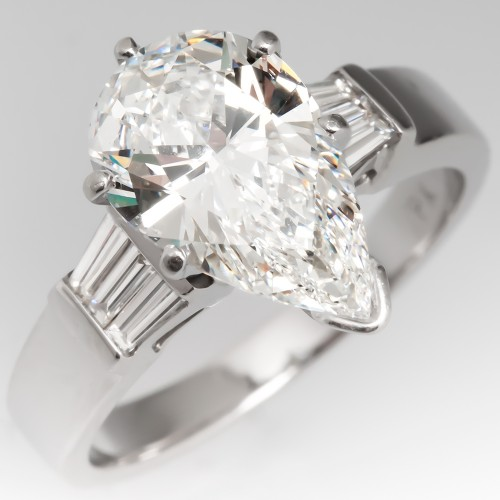 2.4 Carat Pear Cut Diamond Engagement Ring w/ Baguette Accents