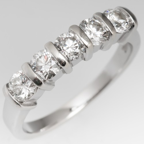 1 Carat Five Diamond Band Ring 14K White Gold