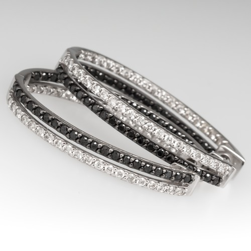 Black & White Diamond Large Hoop Earrings 14K White Gold