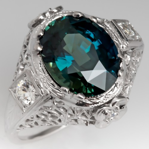 4.6 Carat Blue Green Sapphire Vintage Filigree Cocktail Ring