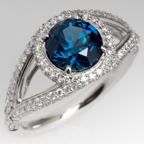 Greenish Blue Sapphire & Diamond Halo Ring Split Shank