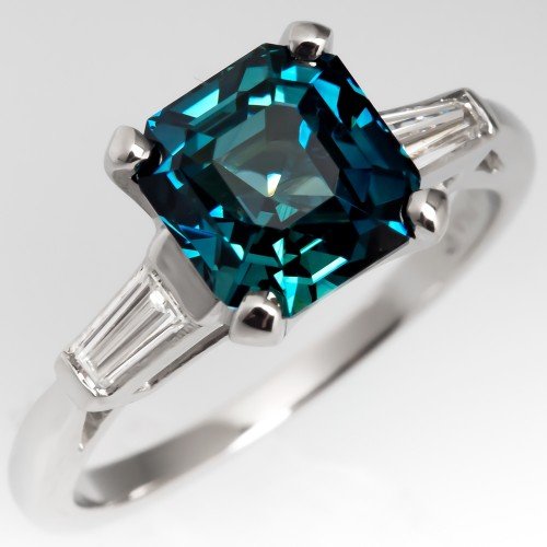 3 Carat Blue Green Sapphire Ring Classic Platinum Tapered Baguette Diamonds