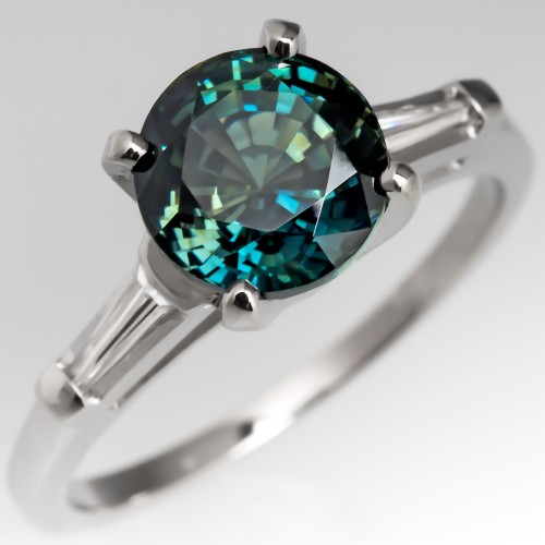 Natural Blue Green Sapphire Ring Platinum Tapered Baguette Diamonds