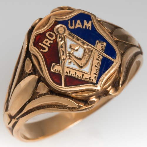 "Vintage Mens Masonic Ring ""JRO UAM"""