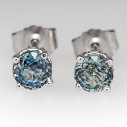 Light Icy Blue-Green Montana Sapphire Stud Earrings 14K White Gold