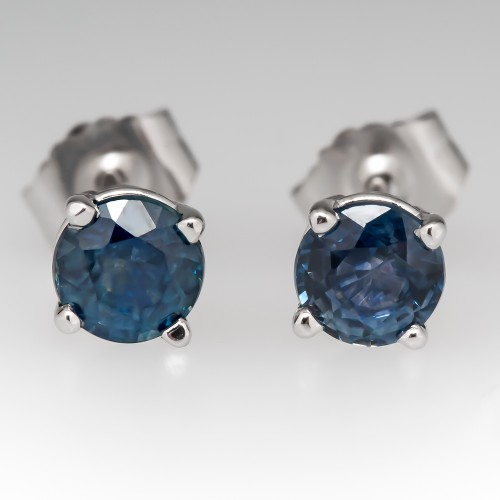 Vibrant Blue-Green Montana Sapphire Stud Earrings 14K White Gold