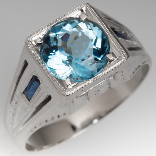 1940's Mens Aquamarine Ring with Created Sapphire Accents 18K Gold
