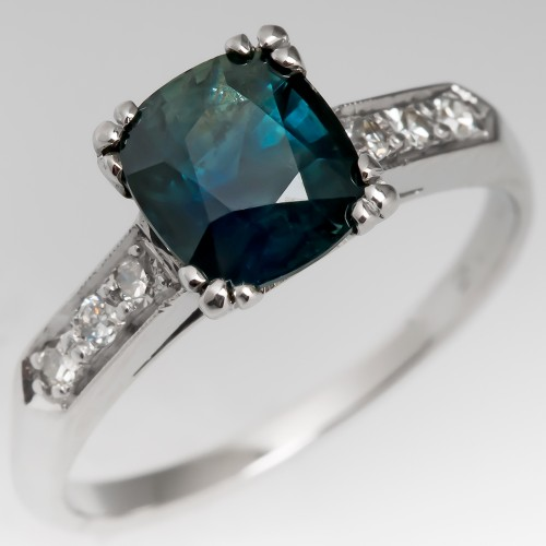 Dark Blue Green Cushion Cut Sapphire Ring Platinum