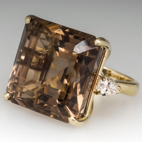 Giant Smoky Quartz Cocktail Ring w/ Diamonds 18K Gold
