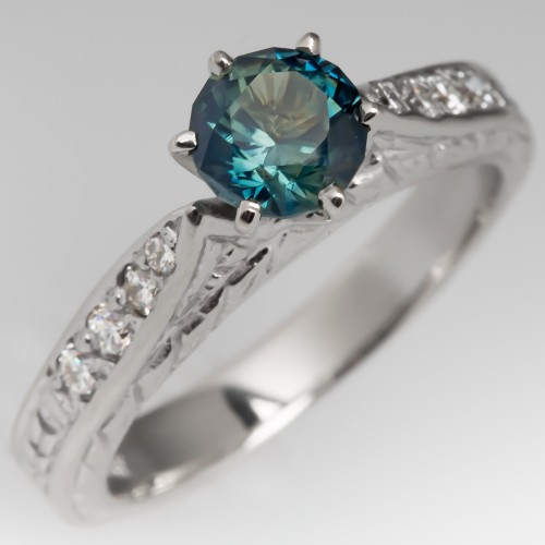 Rich Blue Green Sapphire Engagement Ring Engraved 14K White Gold