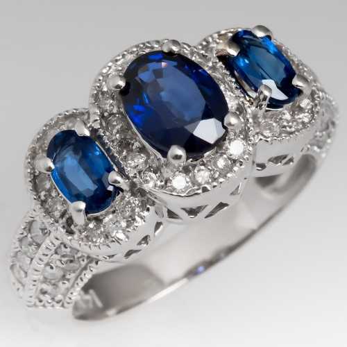 Three Stone Blue Sapphire & Diamond Halo Engagement Ring 14K
