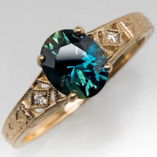 1.3 Carat Blue Green Sapphire Engagement Ring 14K Gold Engraved