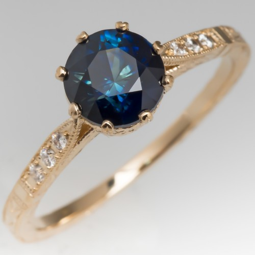 Blue Green Sapphire Ring Crown Head Ornate 14K Yellow Gold