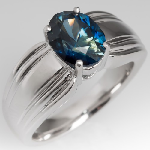 No Heat Blue Green Sapphire Ring 14K White Gold